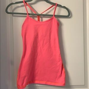 Lululemon Size 2 Power Y tank neon coral/pink
